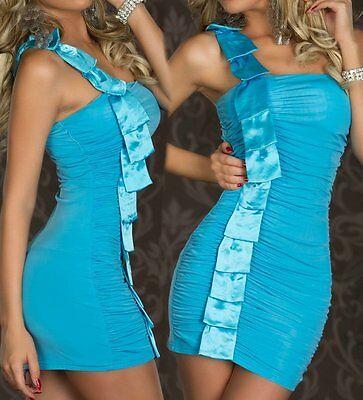 Sexy Miss Mujer 1 Tirantes Mini Vestido Satén Girly Fiesta 34/36/38 Turquesa