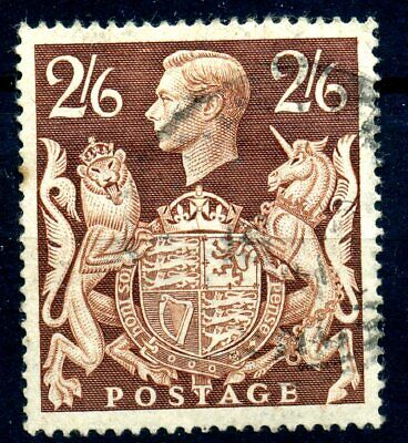 GB 1839 2/6 brown gashed crown flaw fine used SG 476ac cat £85