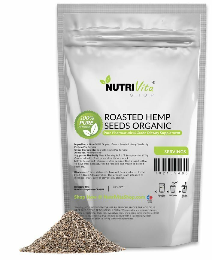 NVS 100% PURE ROASTED HEMP SEEDS GLUTEN-FREE nonGMO ORGANIC GROWN VEGAN USA