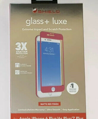 Zagg InvisibleShield Glass Luxe Screen Protector For iPhone 7 Plus & 8 Plus Red