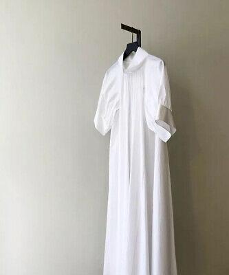 THE ROW 2019 WHITE COTTON POPLIN ALBA MAXI DRESS (M) (The Row Designer)
