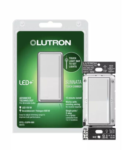 Lutron Sunnata Touch Dimmer STCL-153PH-WH WHITE - $34.99