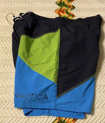 NAUTICA Swim Shorts, Men's 3XL, Swim Trunks, Colorblock, XXXL,