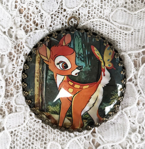 BAMBI ~ XL ROUND  35mm PENDANT Filigree From VINTAGE POSTER IMAGE