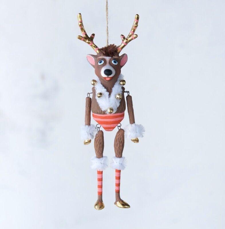 "Glitterville Reindeer Ornament Christmas 8"" Figurine"