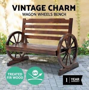 Park Bench Wooden Wagon Chair Seat Outdoor Garden Backyard Lounge