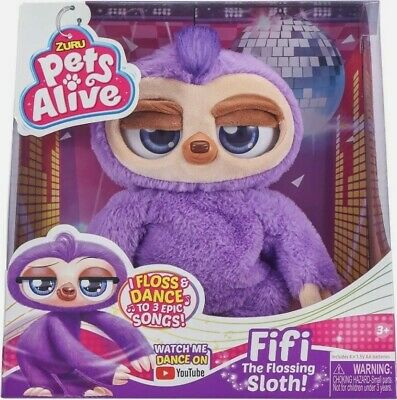 Zuru Pets Alive Fifi The Flossing Electronic Dancing Motion Purple Sloth