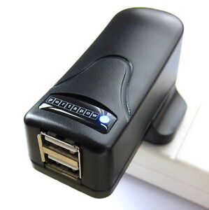 Double-Twin-Mains-USB-Charger-UK-US-EU-2-A-iPad-iPhone