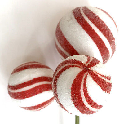 Red & White Striped Peppermint Ball Candy Christmas Pick Tree Wreath Decor ()