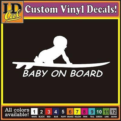 Baby on Board Surf surfing Surfboard Car Truck window funny vinyl decal -