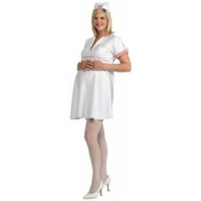 Maternity Halloween Costumes WHITE NURSE Adult Std Size Mommy to Be Fancy Dress