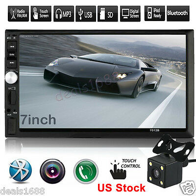 7'' HD Touch Screen Bluetooth Car Stereo Audio 2 DIN FM/MP5/MP3/USB +Camera 2017