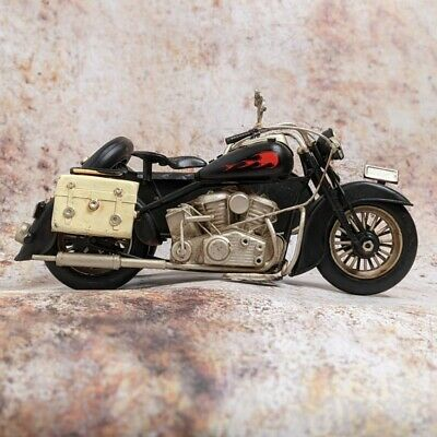 Vintage Motorbike and Sidecar Tin Model Aged Looking Retro Design Lesser &...
