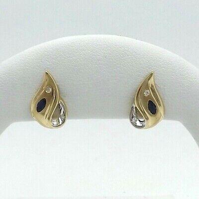 New 14K Two Tone Gold Natural Sapphire Diamond Teardrop Post Stud Earrings 3gr Diamond Teardrop Post Earrings