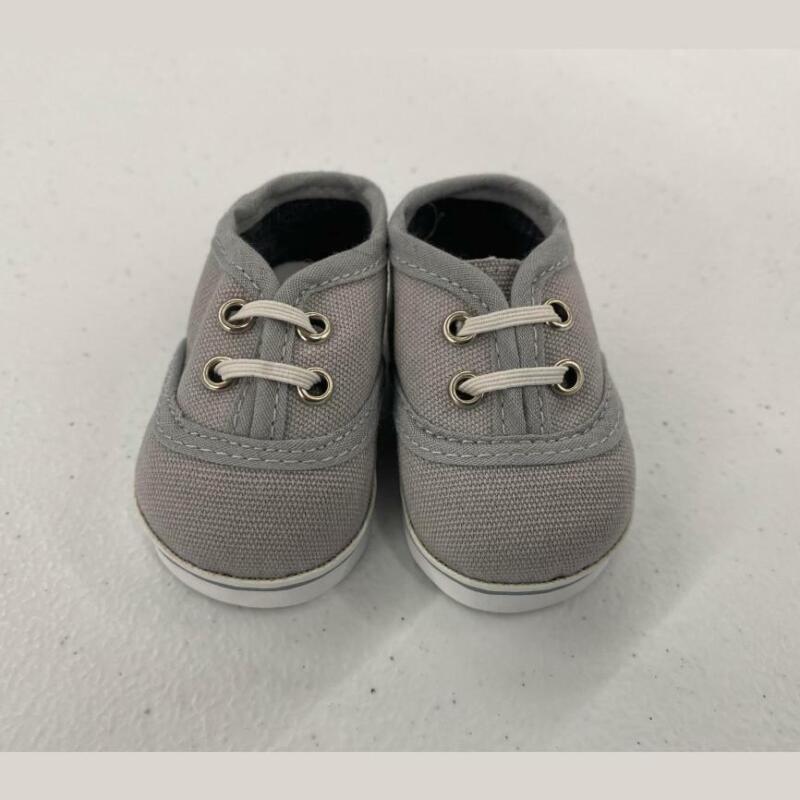 Gray Preemie Shoes w/ White Laces - #6038