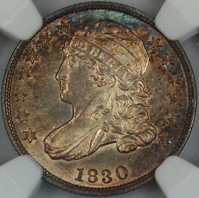 Click now to see the BUY IT NOW Price! 1830 CAPPED BUST SILVER DIME, NGC MS-62, TONED  CHOICE BU COIN JJP