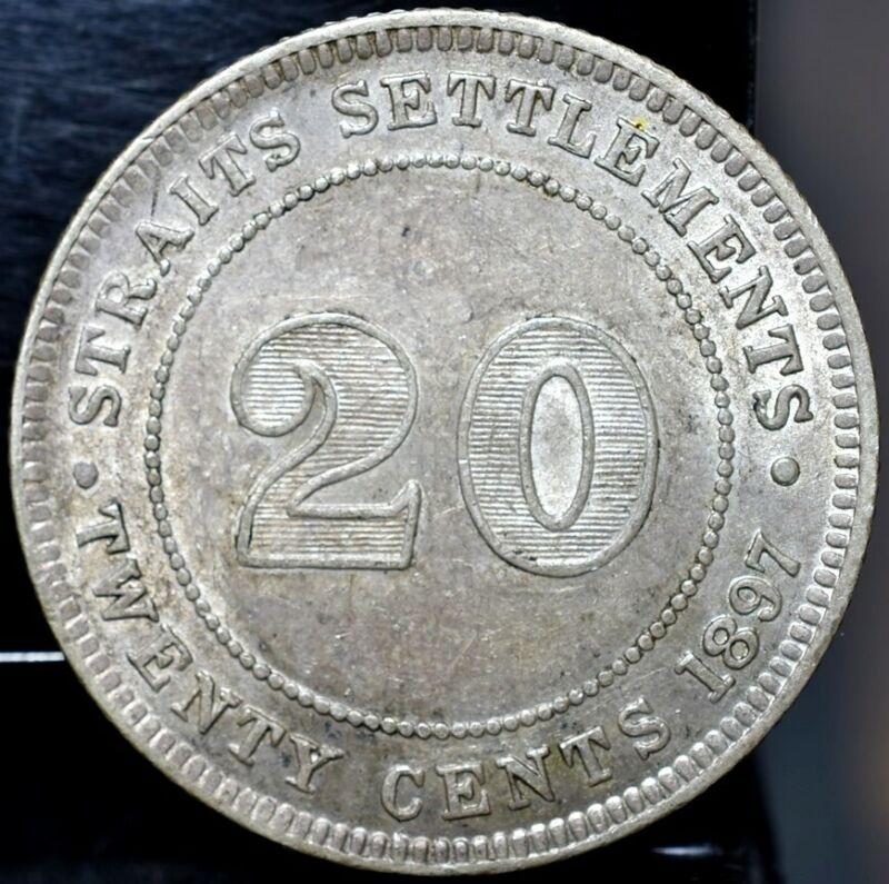 1897-H Straits Settlements Silver 20 Cents - XF/AU KM#12 $120
