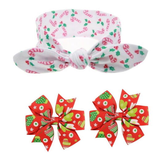Beautiful Cloth Christmas Hair Accessories for baby girls 3 pieces Free Shipping
