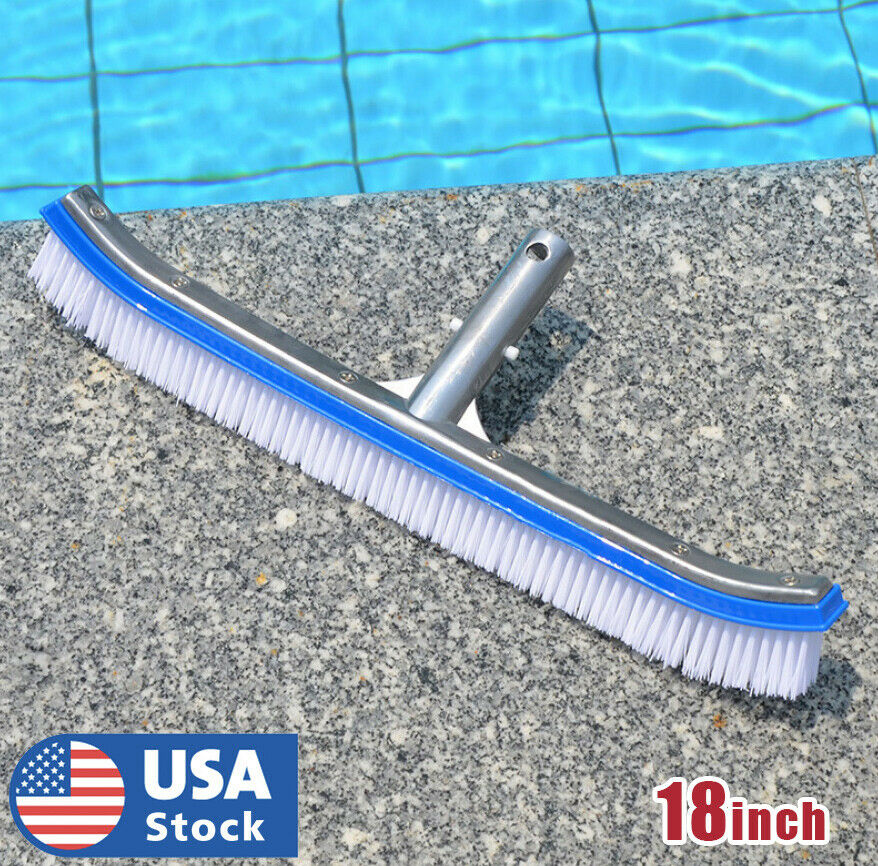 18″ Curved Wall Floor Brush w/Aluminum Handle for In/Above Ground Swimming Pool Handheld Pool Brushes & Nets