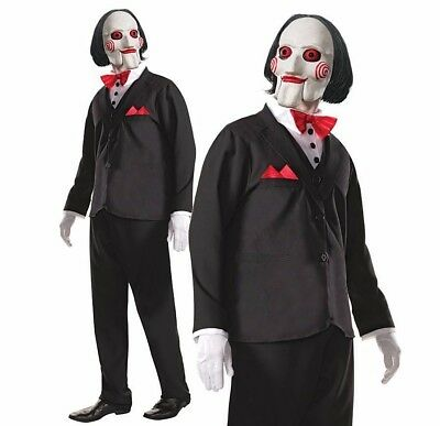 Billy The Puppet Kostüme (Adult DELUXE BILLY THE SAW Fancy Dress Costume Mens Halloween Jigsaw Puppet Film)