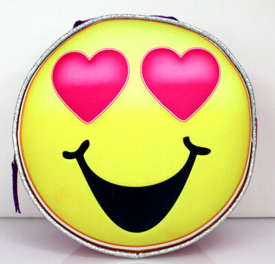 LOVE HEART Face EMOJI Large 16 Backpack Lunch Box Sequins