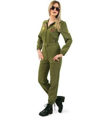 Kampfpilotin Overall in Olivengrün für Frauen mit Brille - Kampfpilotin Kostüm
