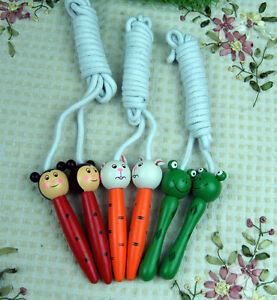 HOT ITEM Children's Wooden Handle Skipping Rope Animal Cartoon Zoo Characters