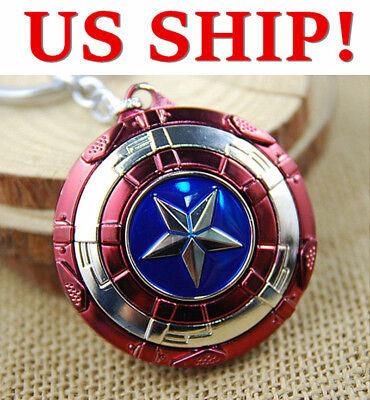 Star Keychain - US! The Avengers Captain America Shield Keyring Rotatable Star Alloy Keychain