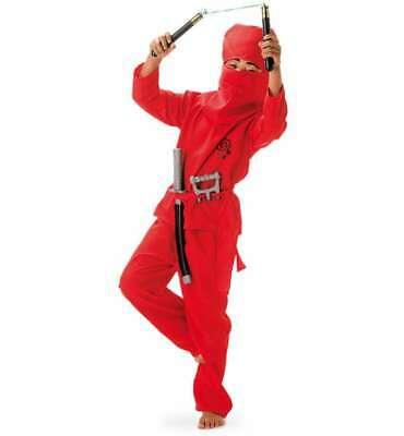 Ninja rot Kostüm Gr. 116 - 164 Fasching Karneval Kinderkostüm Kung-Fu - Kung Fu Kinder Kostüm