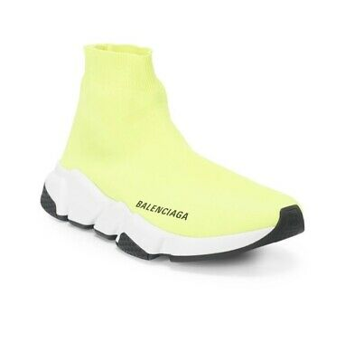 NIB Auth. Balenciaga Yellow Neon Men's Speed Trainer Knit Sock Shoes 46/13