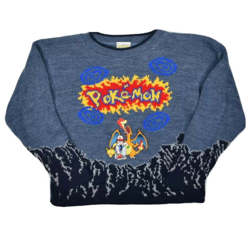 Vintage Pokemon Charizard Sweater Kids S Pullover Ash Pikachu Patch Licensed