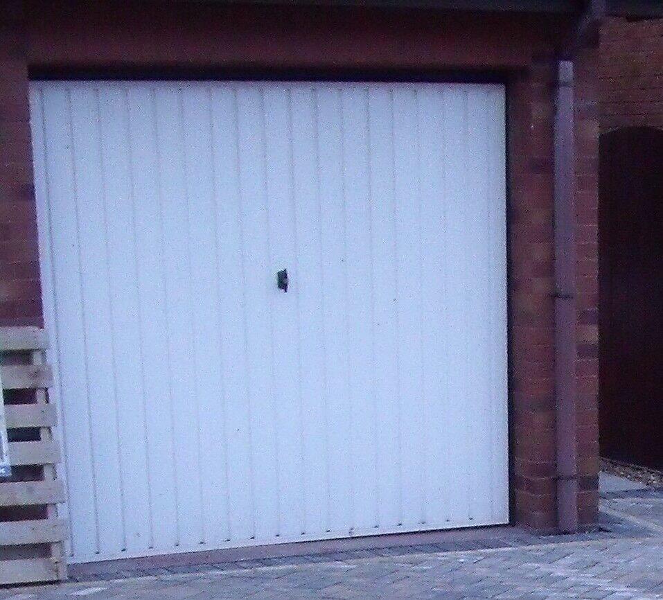 White Metal Up and over single garage door