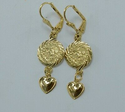 Delicate gold plated heart coin design dangle earrings