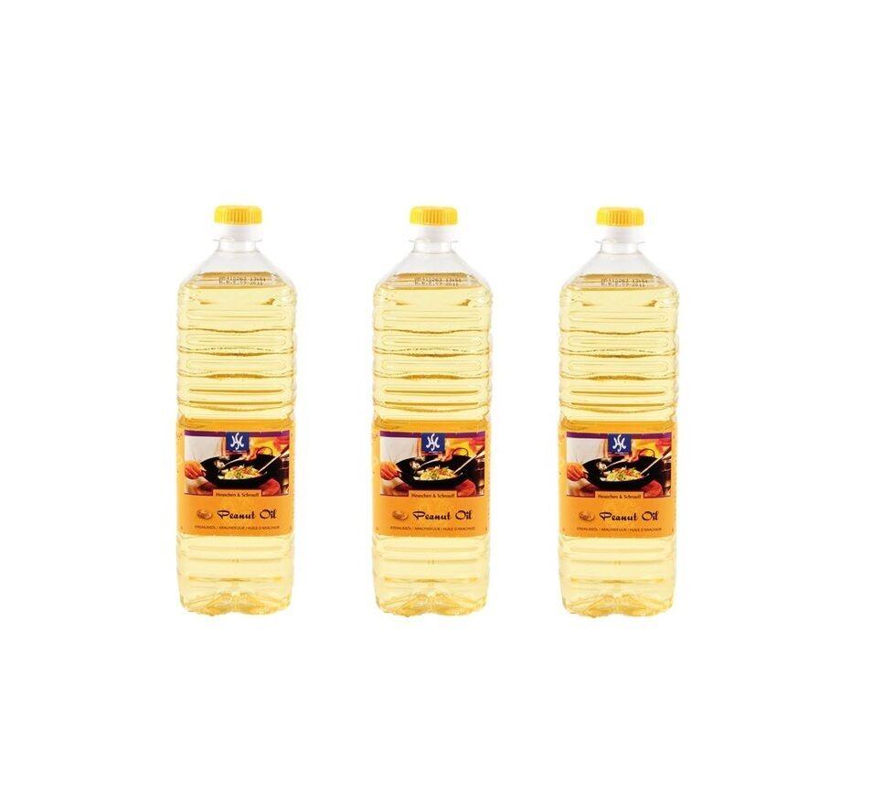 3er Pack: 3 x 1 Liter reines Erdnussöl Erdnußöl Peanut Oil Erdnuss Öl Holland