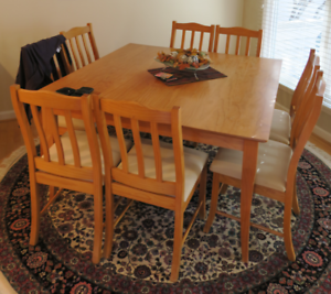 8 Seater Timber Square Kitchen Table & Chairs