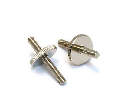 (2) Nickel Metric ABR Tune-o-matic Style Bridge Studs w/Thumbwheels BP-2393-001