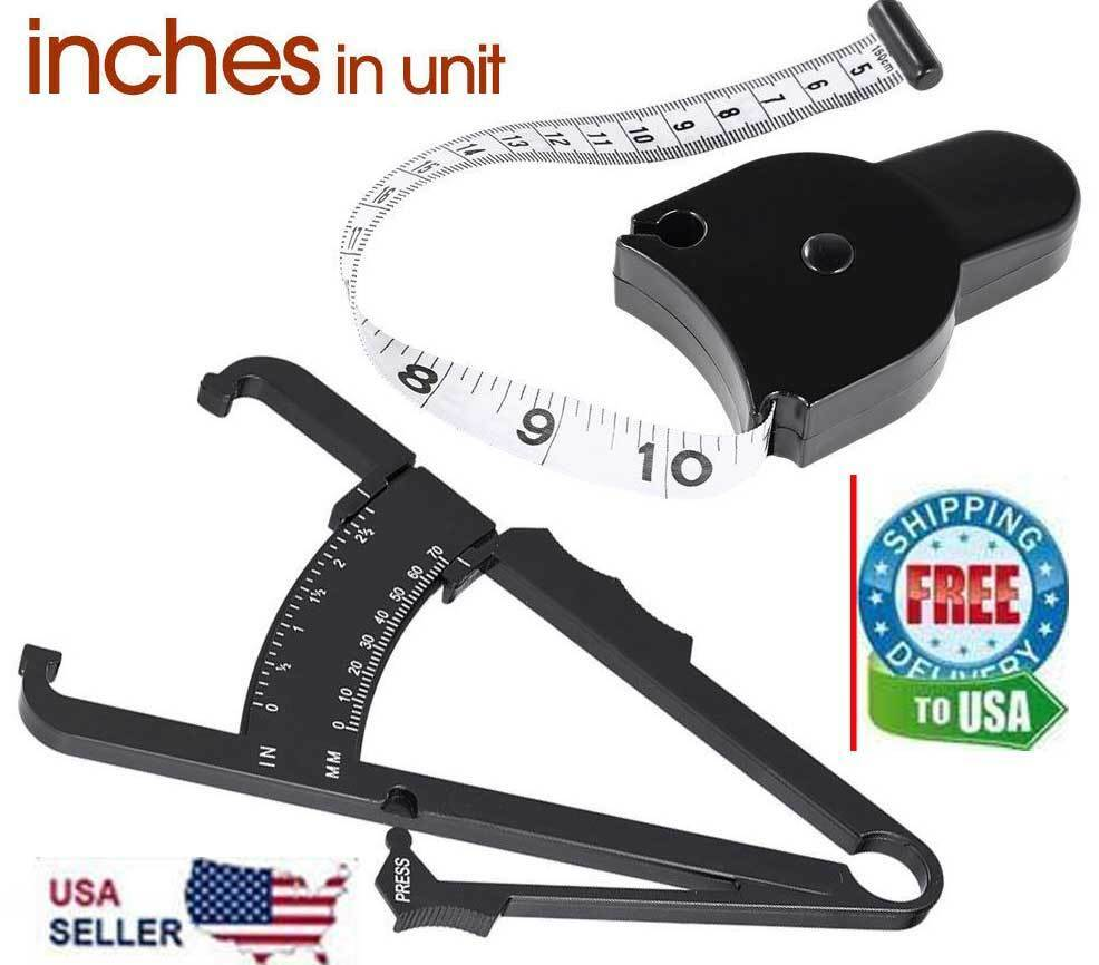 2pc Body Fat Caliper & Mass Measuring Tape Tester Skinfold Fitness Weight Loss Body Mass Monitors & Scales
