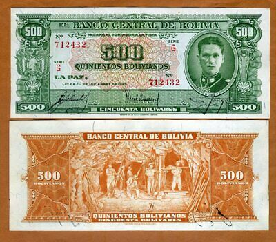 1962 10 x 50 Pesos Bolivanos LOT Bolivia P-162 XF-aUNC