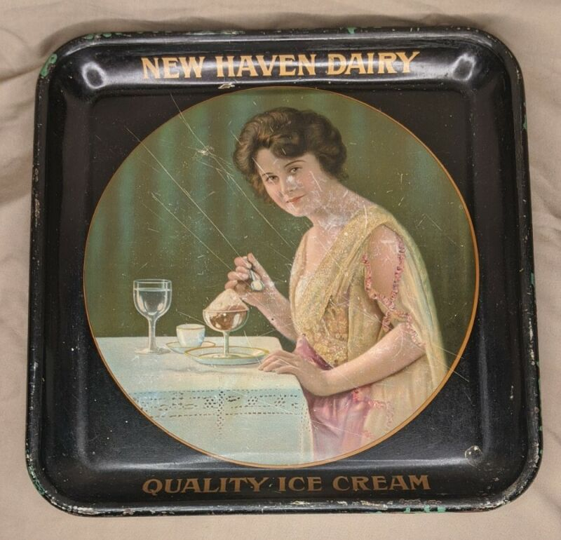 Antique New Haven Dairy Ice Cream Serving Tray Advertising CT Connecticut Conn