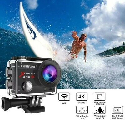 Campark ACT74 Action Camera 4K 16MP WiFi Sports Cam Underwater 30M 170° Angle