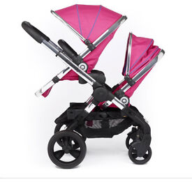 Icandy peach blossom double stroller in bubblegum