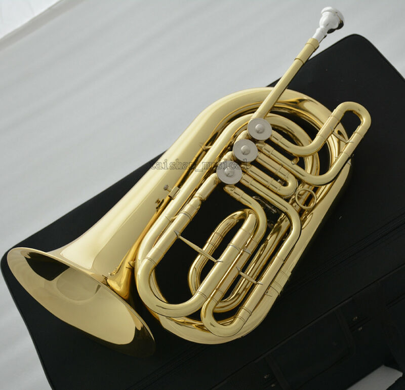 Professional Rotary Bass Flugelhorn Gold C Key Flugel horn With Case