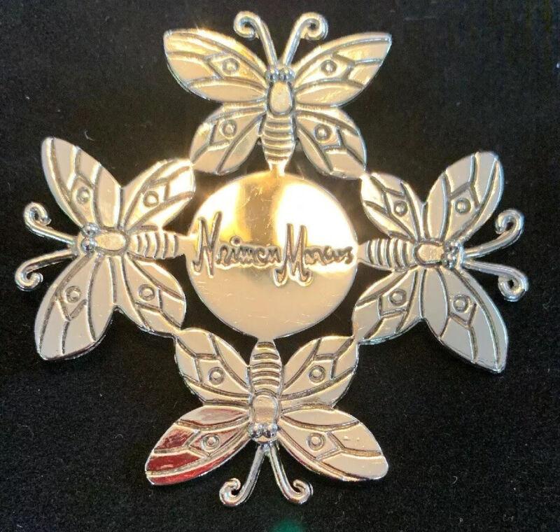 Neiman Marcus Emilia Castillo Silverplate Butterfly Scarf Clip 1996