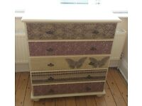Annie Sloane Pine Drawers. Decoupaged with Butterfly Effect