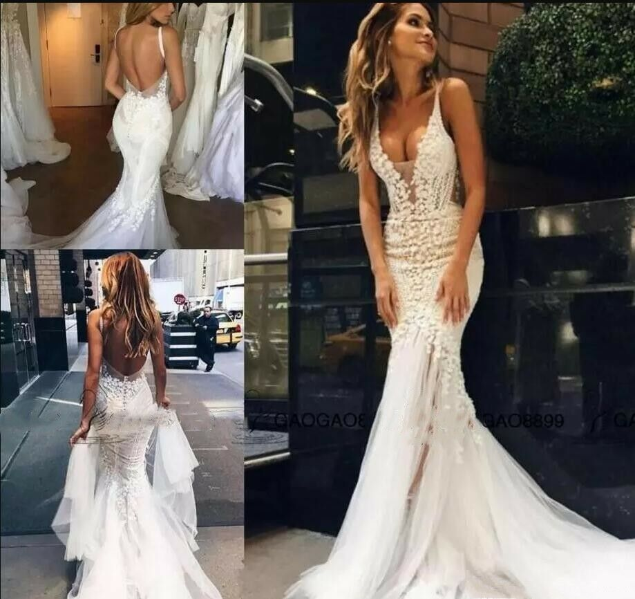411ad95497 Details about 2018 Sexy Mermaid Lace Wedding Dresses Applique Sweep Train  Backless Bridal Gown