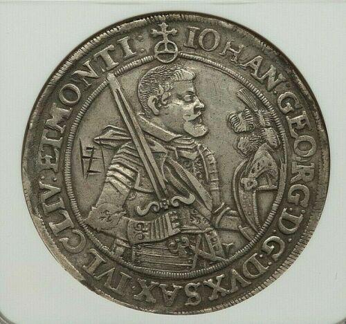 1623-HvR SAXONY JOHANN GEORG I SILVER TALER NGC XF-DETAILS (OBVERSE GRAFFITI)
