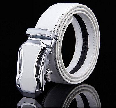 ( Men's Belt Genuine Leather Auto Lock White/Orange/Black/Brown/Red W28