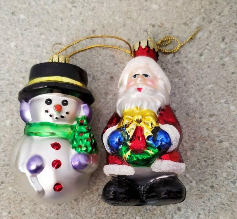 Vintage Blown Glass Santa Claus And Snowman Ornaments