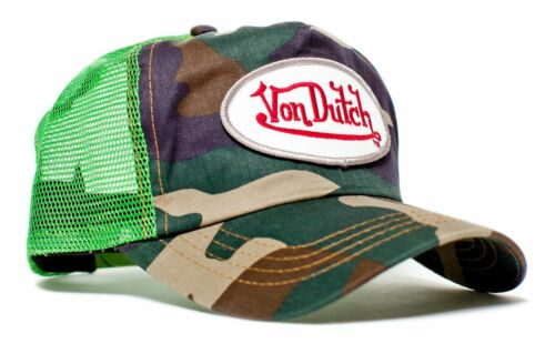 Authentic Von Dutch Originals Lime Green Camo Truckers Cap Hat Snapback