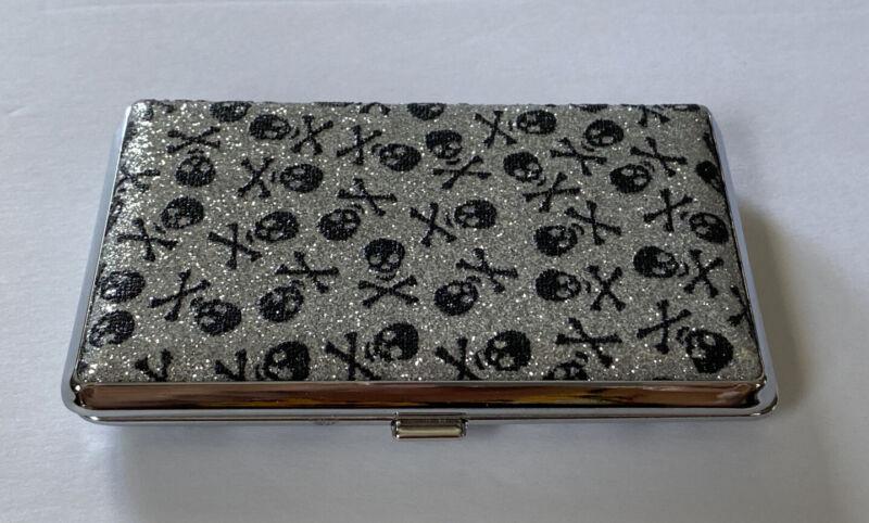 Silver Glitter Black Skull & Crossbones Business Card holder / Cigarette Case